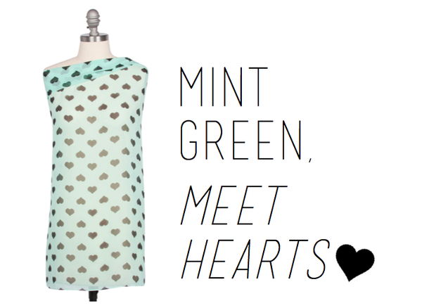 Mint Green with Hearts Hijab From Haute Hijab