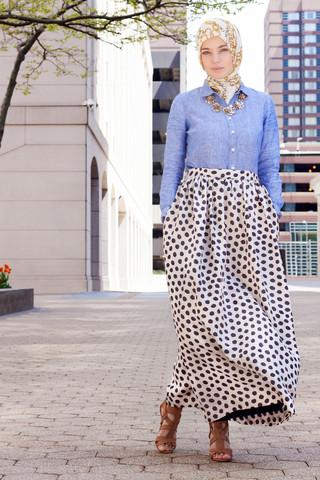 Haute Hijab Polka Dot Maxi Skirt