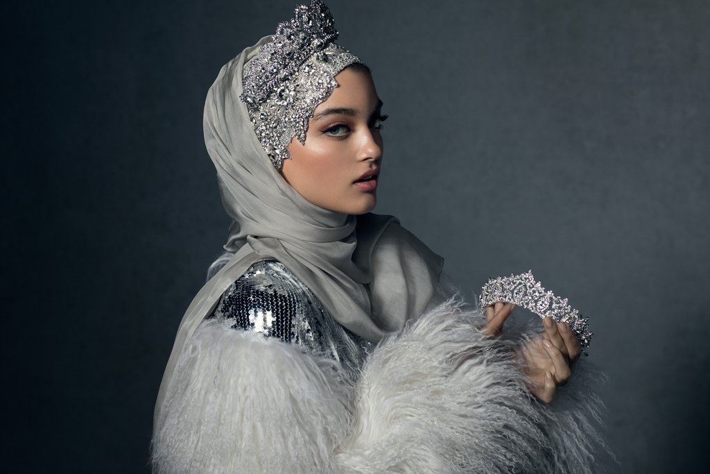Haute Hijab Luxury Collection Celestial Silver Hijab