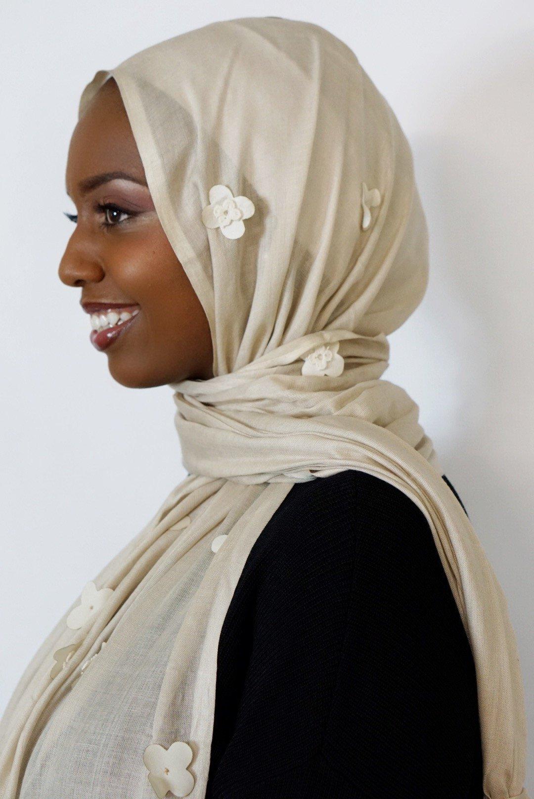 Vela Scarves Platinum Flower Petal Hijab from the Resort Collection